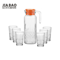 7pcs water drinking set clear engraved glass jug and tumbler