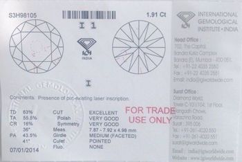 IGI Certififed 1.91 Cts Real Nautral Solitiare Diamonds @ Delar Price