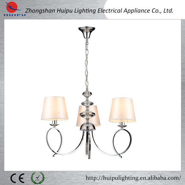 Chrome finished fabric shade parts pendant light ficture for bedroom
