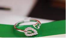 S30307H Fashion Dimond Plated Rings Two Leaves Adjustable Lovers Silvery Ring