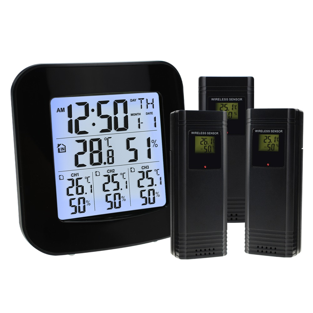 <strong>Temperature</strong> and Humidity measurement with 3 Indoor/ Outdoor Wireless Sensors Weather Station Thermometer and Hygrometer