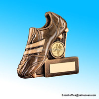 Polyresin Gold Resin Soccer Boot+Net Flatback Trophy