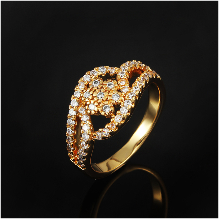 Latest designs for girls custom Zircon diamond engagement jewelry 18K plated brass copper wedding gold ring