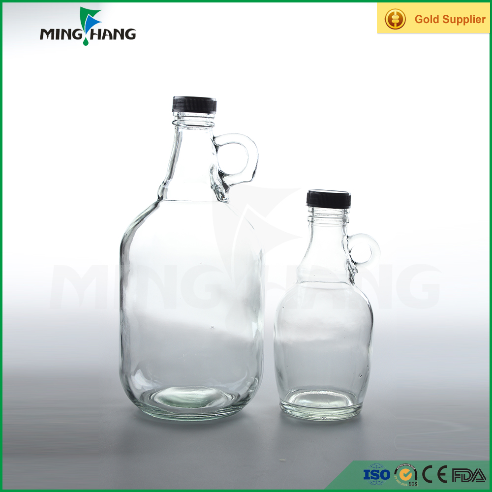 550ml/2000ml wine glass bottle with lids, glass liquor bottle with small handle