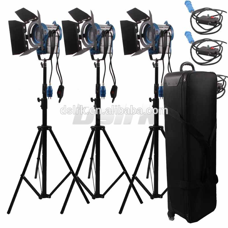 high quality 3 X 1000W with dimmer control studio arri fresnel 3-light kit