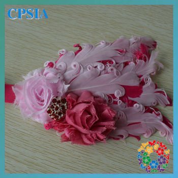 2014 new trendy kids hair accessories baby girl feather