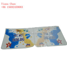 Custom waterproof Clear plastic pvc wet bikini bag for swimwear packaging