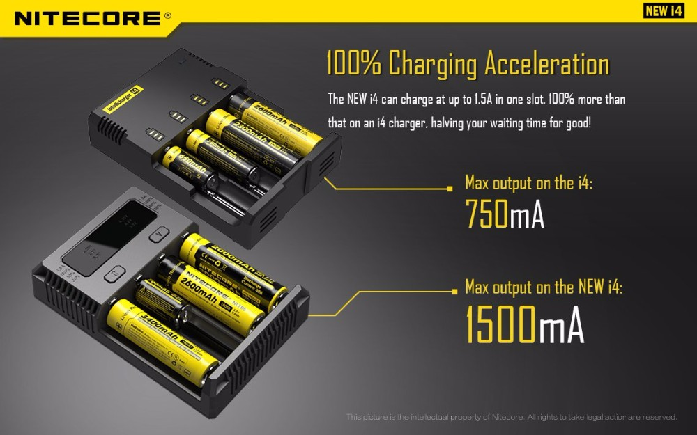 New !!! new i4 charger 4 bay 18650 charger intelligent I2/ d2/I4/D4 charger