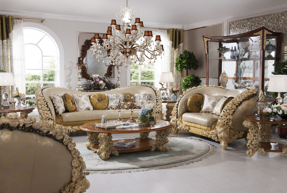 French style luxury living room wooden sofa furniture solid wood hand carved sofa set view - Add luxurious look home royal sofa living room ...