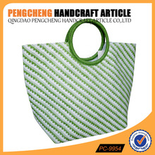 Fashion and elegant green color paper straw bag for round handle women shoulder handbags manufacturer in qingdao