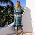 2018 Holiday Dress Printed Beach Blouse Cardigan Skirt Bohemian Dress Long Cardigan