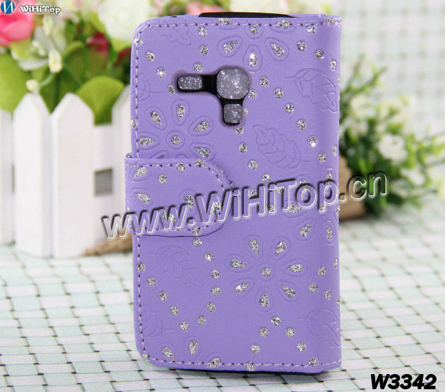 Glitter Maple Leafs Bling Bling Flip Leather Case for Samsung Galaxy S3 mini i8190,wallet case with credit card slot