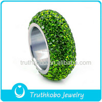 Latest Design Fashion Welded Jewelry Engraved Stainless Steel Shamballa Sparkly Olive Green Crystal Ring Stackable Finger Rings