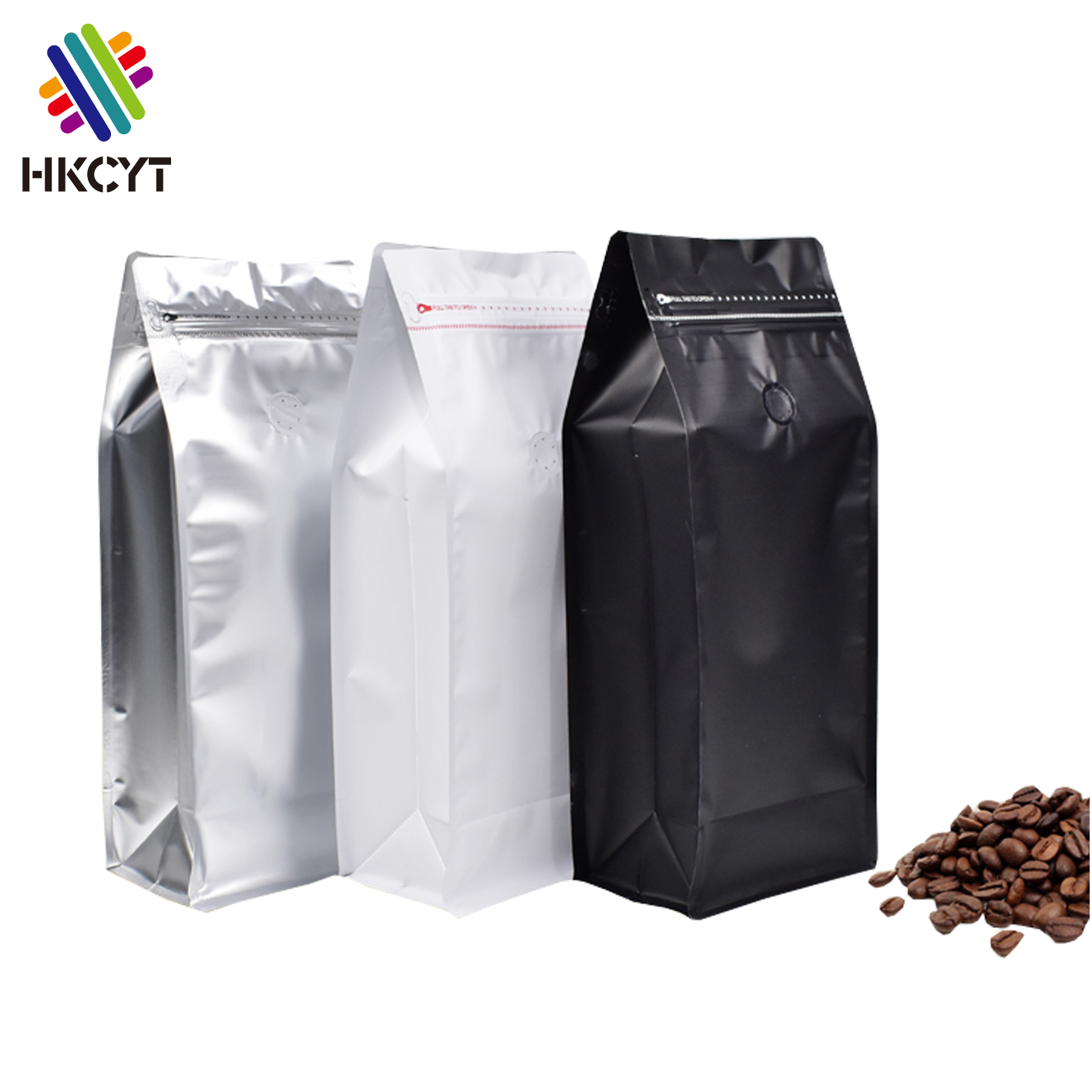 In Stocked Low MOQ white <strong>black</strong> 1kg coffee bag with valve