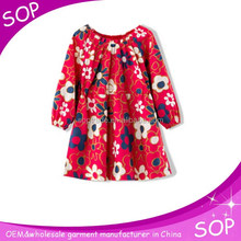 Girls cotton flower printed dress made in china