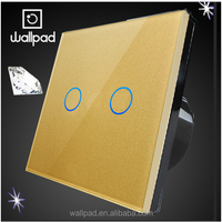 Alibaba Express China Wallpad Waterproof EU UK Gold Color Tempered Glass Panel 2 Gang Touch Screen Switch Board