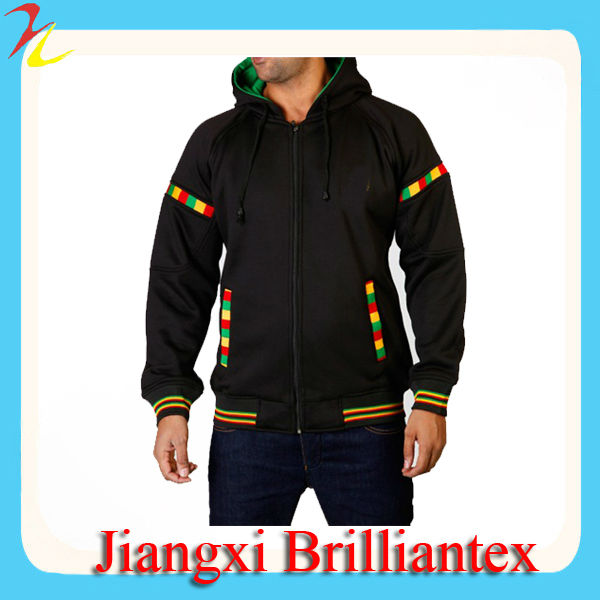 Raw Blue Rasta Clothing men's champion eco fleece full zip custom Zip Hoody Black