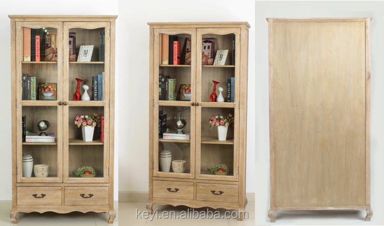 living room showcase glass doors design cabinet / wooden design display Cabinet(DT-1042-OAK)