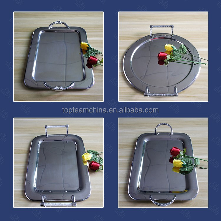 Stainless steel rectangle bar restaurant kitchen serving tray- food tray-meat tray standard dinner plate sizewith diamond handle
