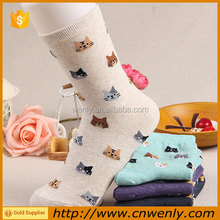 Lovely cat print women tube hand socks