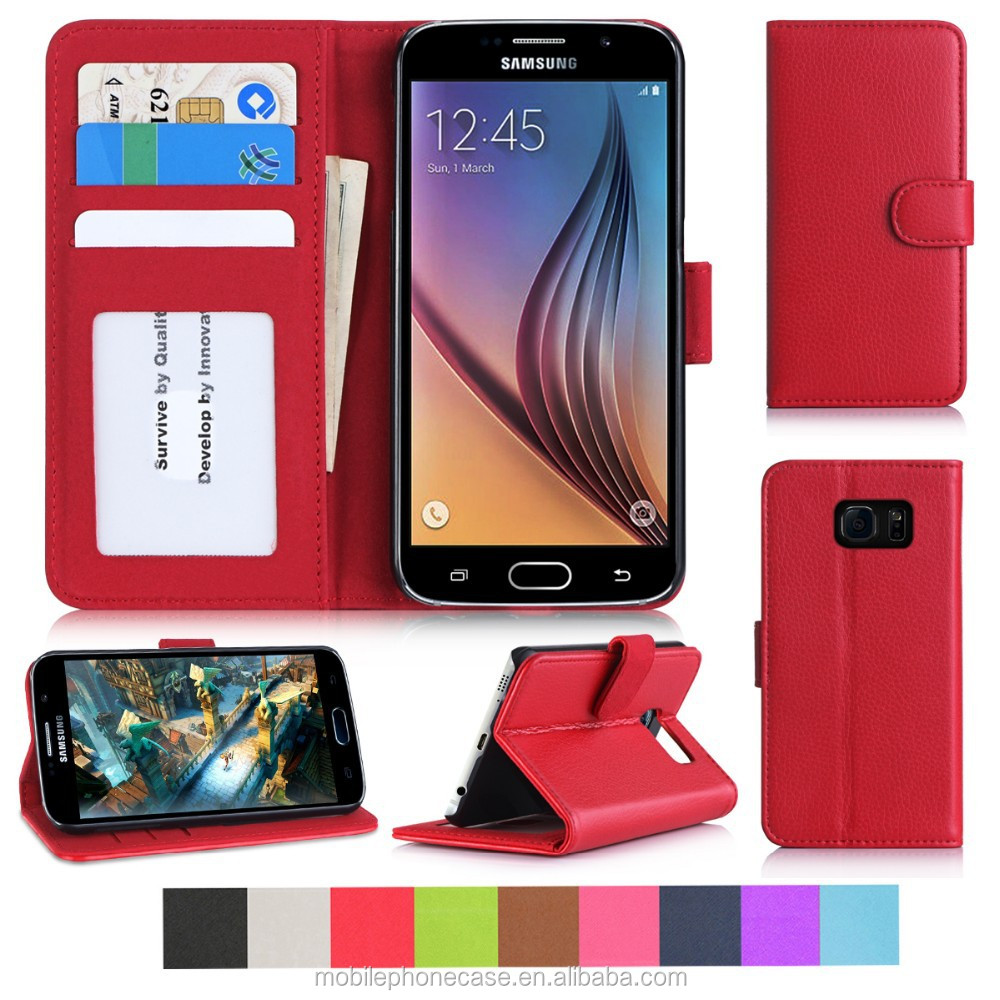 Fashion Phone Case For samsung s6 with card slots and wallet