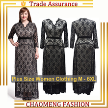 3058# Black Ladies New Model Fashion Fat Long Sleeve Patterns One Piece Evening Dresses Lace Dress Plus Size Women Clothing