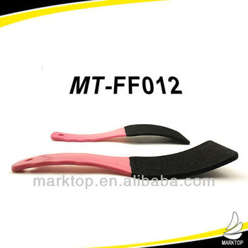 Pink long handle curved foot file