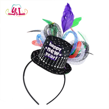 Happy New Year Jewel Tone Deluxe Headband With Colorful Feather For Party Accessory