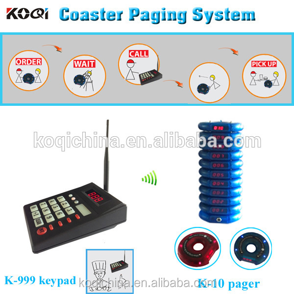 Wireless queue management system transmitter keyboard coaster pager restaurant paging system