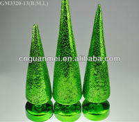 Wholesale 2013 one group green LED glass christmas tree