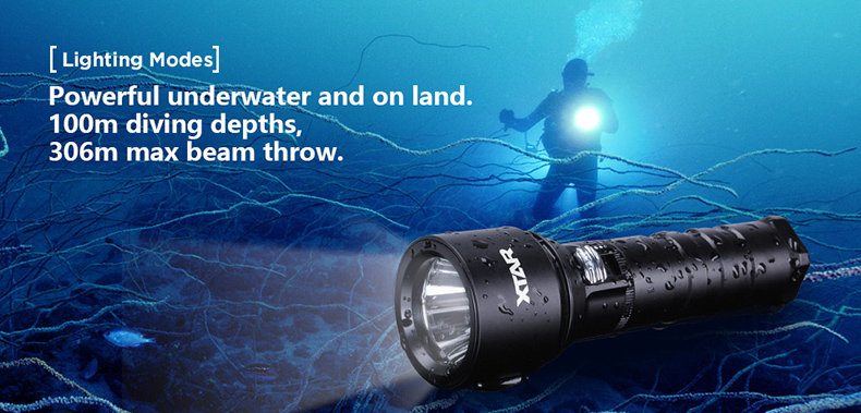 XTAR D06 diving flashlight max 900 lumen beam distance 430meter Magnetic switch torch 100 meter diving depth