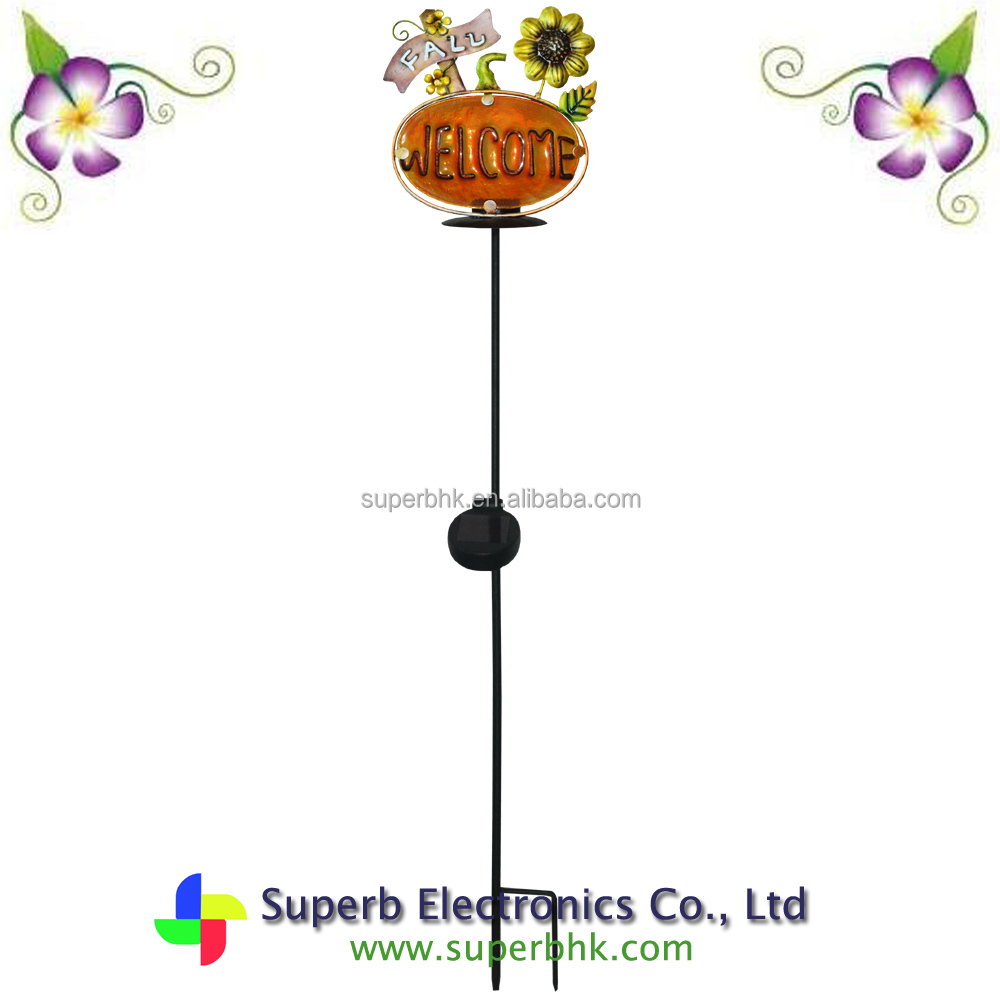 Solar Garden Welcome Stake Candle Light for Halloween for Garden Decoration
