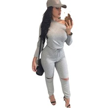 C67513A Ladies fashion jumpsuits tight long-sleeved pants piece suit for women