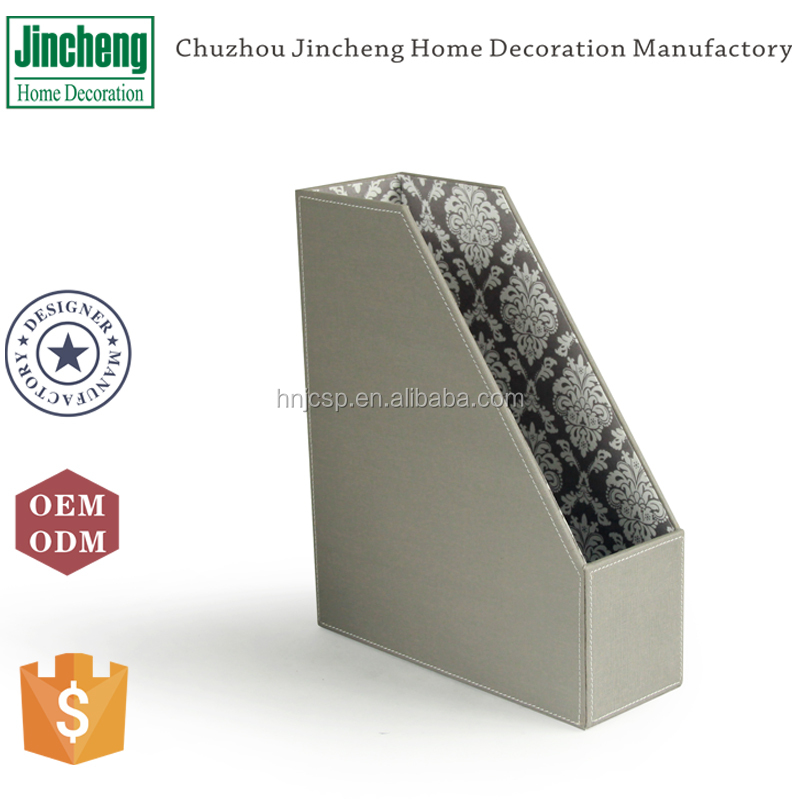 New arrival decorative gray stitched faux leather document holder