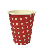 Customized printing insulated biodegradable disposable single double wall coffee juice tea paper cups with white plastic lids