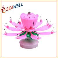 high quality music rotation birthday cake lotus flower candle