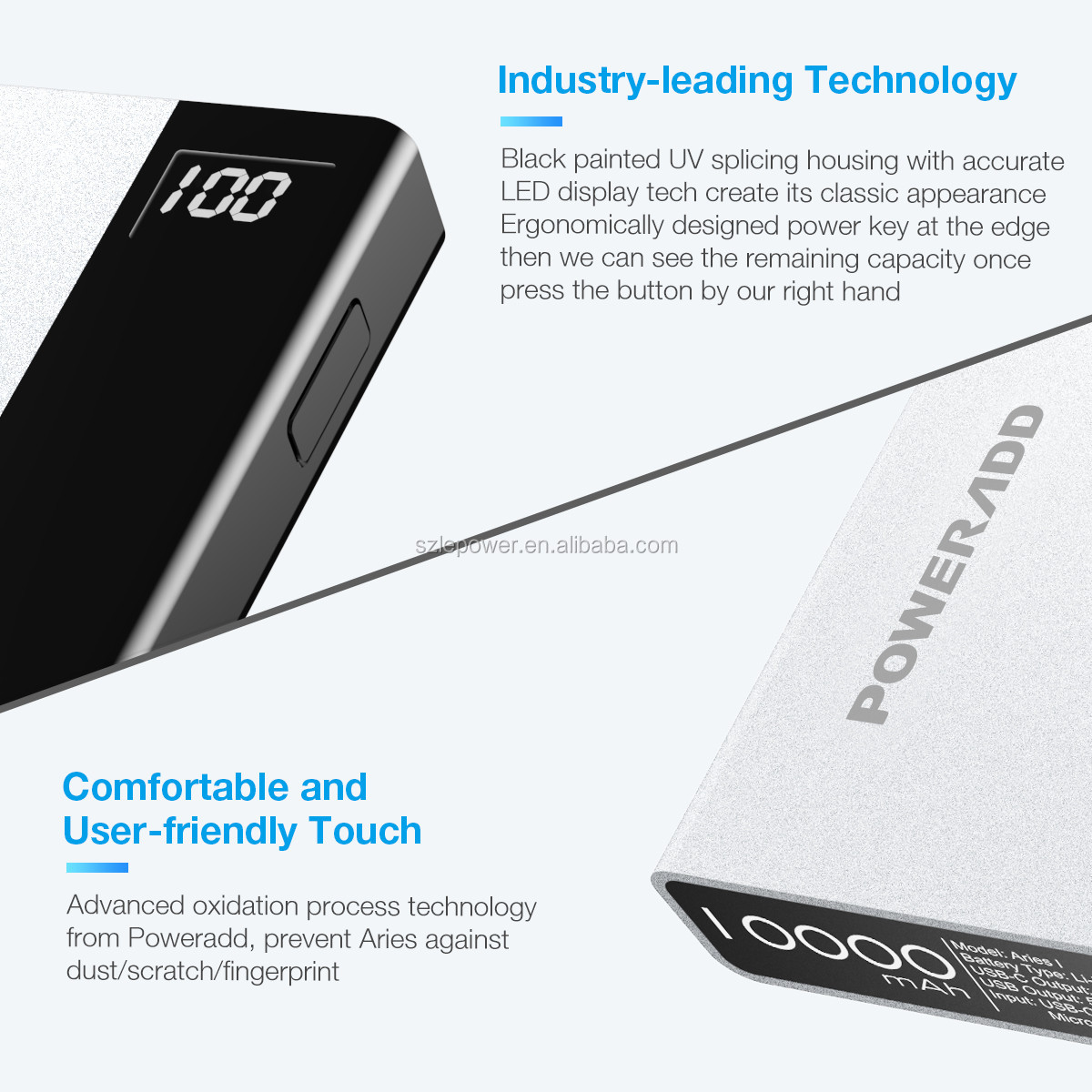 Poweradd Aries1Classic power bank 10000mah universal portable battery charger