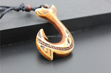 Yak bone carving brown pendant fishhook style necklace with factory price