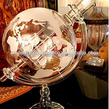 Hot sale Unique Whiskey Decanter For Wine Glass Globe Design Ship inside Decanter Bottle For Sale