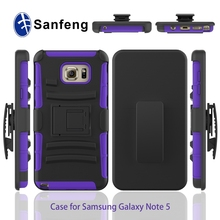 Factory Supply Cheap Mobile Phone Case For Samsung Galaxy Note 5 With Belt Clip & Shockproof