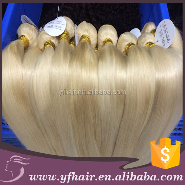 Wholesale price 100% unprocessed virgin russian blond human hair extension 90cm