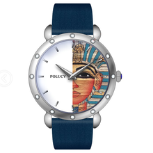 Fashion custom Egypt Pyramids Sphinx face Dial print women genuine leather stones watch