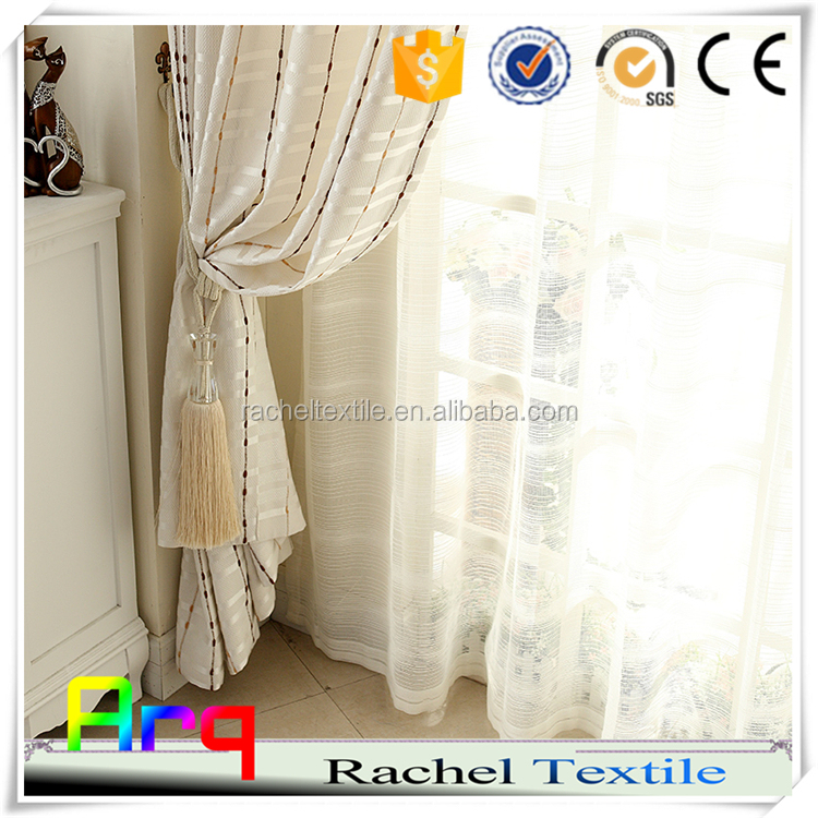 Creative pure style curtain- light color design for window/living room- Bead string pattern 100% polyester embroidery