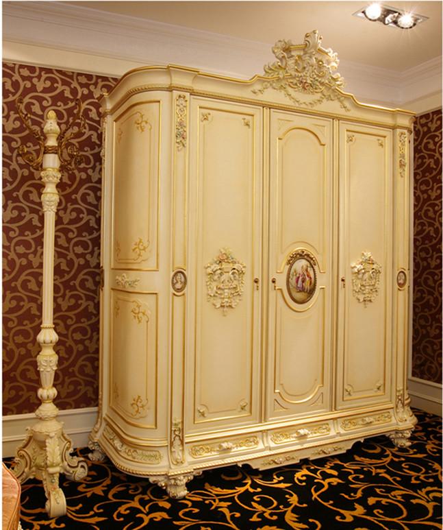 Luxury French Rococo Style Three Door Wardrobe Closet