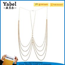 Factory Wholesale Gold Neck Chain Designs Sexy Waist Body Necklace Chain