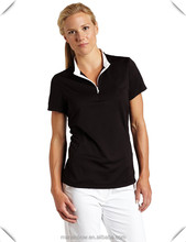 ladies golf clothing, good quality 100% polyester plain performance golf polo shirts with 1/4 zip stand collar