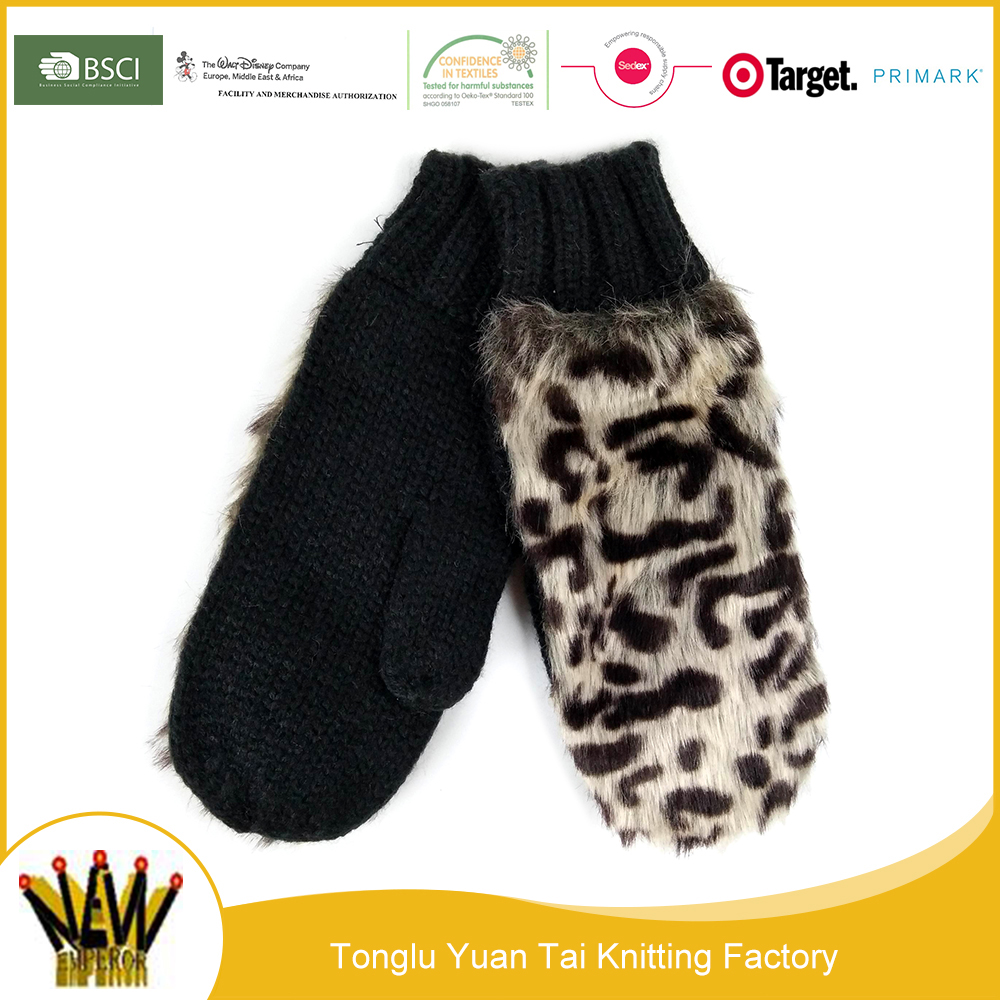 China supplier hot sale leopard pretty ladies gloves