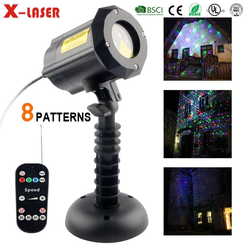 X laser Projector 8 in 1 Christmas patterns outdoor RGB laser light