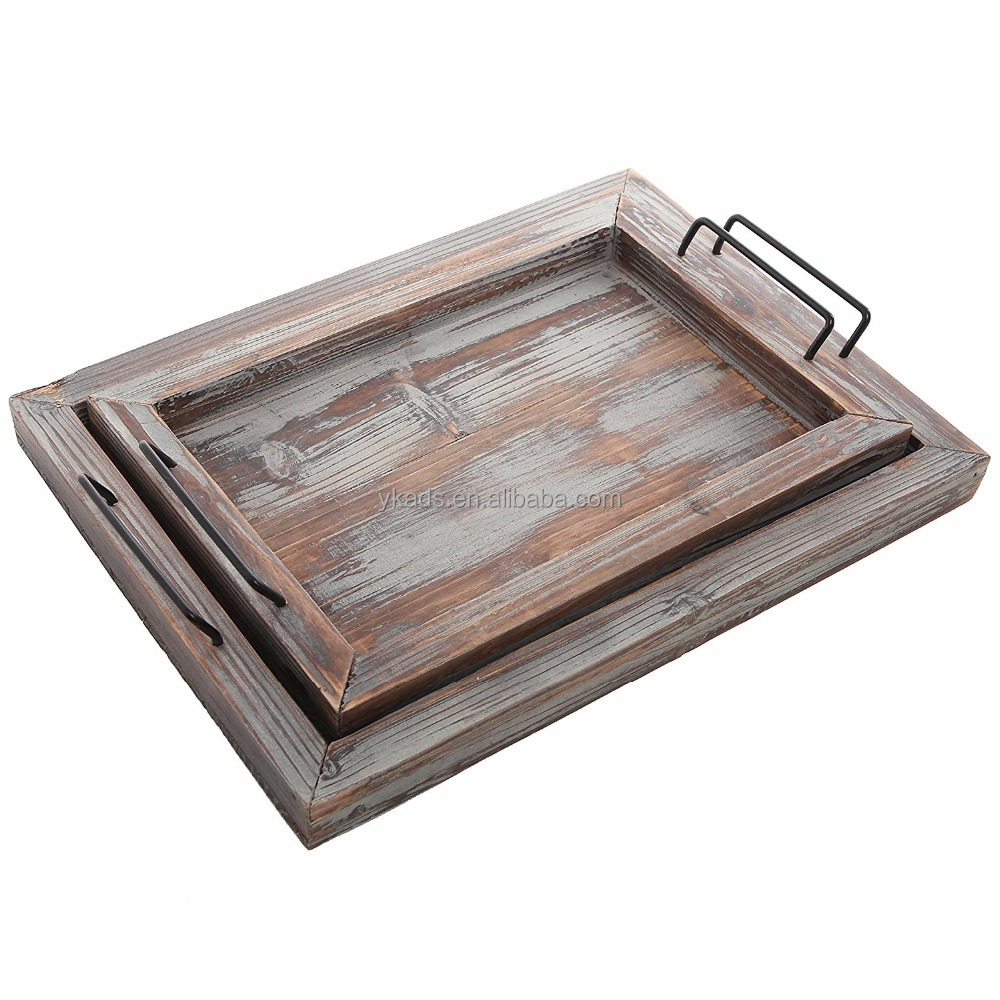 Black walnut wood rectangular serving trays in Recyclable Feature