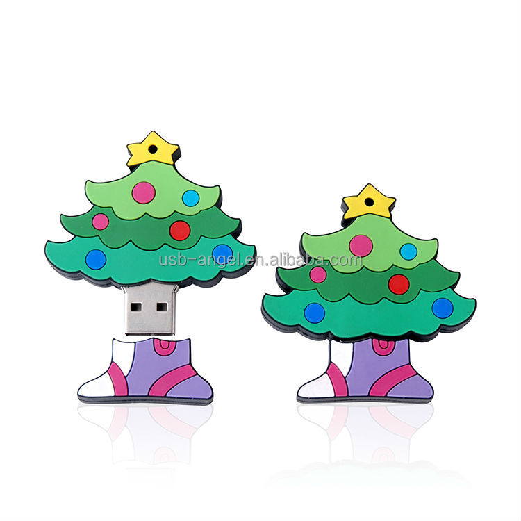 hot selling PVC USB flash drives, christmas tree shaped 4GB USB flash drives